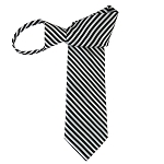 WZ-157 | Black and White Narrow Alternating Stripe Woven Zipper Tie