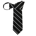 WZ-158 | Black and Silver Narrow Stripe Woven Zipper Tie