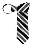 WZ-159 | Black, White and Charcoal Gray Mesh Stripe Woven Zipper Tie