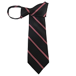 WZ-161 | Narrow Red Stripe and Black Mesh Pattern Woven Zipper Tie