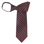 WZ-163 | Black, White and Burgundy Striped Woven Zipper Tie
