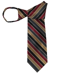 WZ-164 | Copper, Black, Burgundy and Charcoal Multi-Color Stripe Woven Zipper Tie