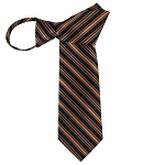 WZ-167 | Cinnamon, Honey Gold and Navy Blue Alternating Stripe Woven Zipper Tie