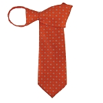 WZ-168 | Orange and Steel Blue Geometric Pattern Woven Zipper Tie