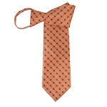 WZ-169 | Light Salmon Orange and Navy Blue Micro Dot Woven Zipper Tie