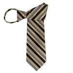 WZ-171 | Honey Gold, Black, and Khaki Brown Multi-Color Stripe Woven Zipper Tie