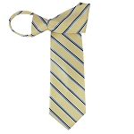 WZ-172 | Black, Steel Blue and light Yellow Striped Woven Zipper Tie
