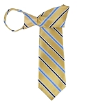WZ-174 | Honey Gold, Steel Blue and Navy Blue Striped Woven Zipper Tie