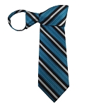 WZ-177 | Turquoise and Black Basket Weave Woven Zipper Tie