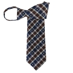 WZ-180A | Navy Blue, Brown and White Club Plaid Woven Zipper Tie