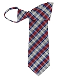 WZ-180B | Royal Blue, Silver and Red Club Plaid Woven Zipper Tie