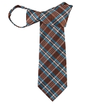 WZ-181 | Turquoise and Brown Plaid Woven Zipper Tie