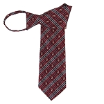 WZ-182A | Crimson Red Plaid Woven Zipper Tie