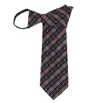 WZ-182B | Navy Blue and Orange Plaid Woven Zipper Tie