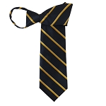 WZ-183 | Narrow Gold Stripe on Navy Blue Woven Zipper Tie