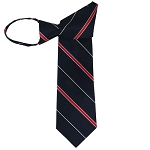 WZ-184 | Narrow Red Stripe on Navy Blue Woven Zipper Tie