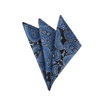 DH-07A | Steel Blue, Light Blue and Black Woven Paisley Handkerchief