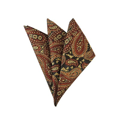 DH-07D | Light Brown, Honey Gold and Black Woven Paisley Handkerchief