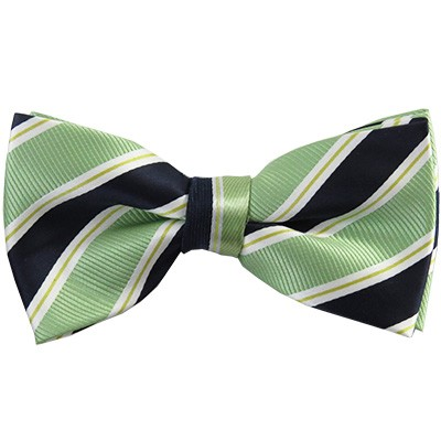MB-130E | Light Green and Navy Blue Striped Men's Woven Bow Tie