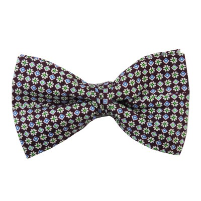 PB-01D | Pre-tied Repeating Flowers on Eggplant Purple Men's Printed Design Bow Tie
