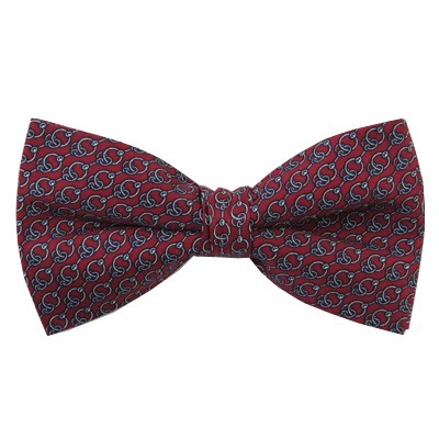 PB-04B | Pre-tied Chain Link Patterns on Crimson Red Men's Printed Design Bow Tie