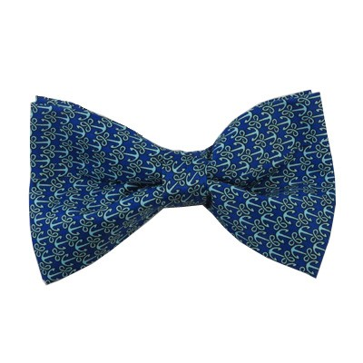PB-05B | Pre-tied Nautical Anchor Patterns on Light Blue/Royal Blue Men's Printed Design Bow Tie