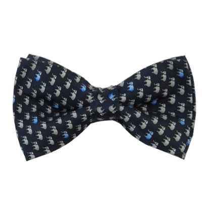 PB-06B | Pre-tied Silver Elephant Pattern on Navy Blue Men's Printed Design Bow Tie