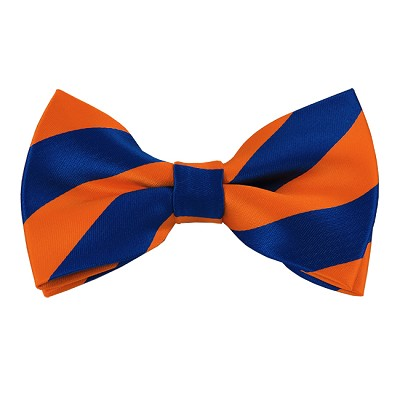 DSB-3603 | Pre-Tied Royal Blue and Orange College Stripe Bow Tie