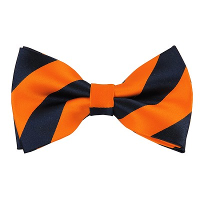 DSB-5303 | Pre-Tied Navy and Orange College Stripe Bow Tie