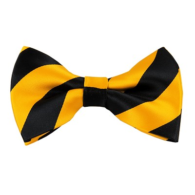 DSB-5848 | Pre-Tied Black and Gold College Stripe Bow Tie