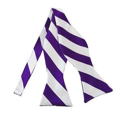 SDS-3120 | Self Tie Purple and White College Stripe Bow Tie