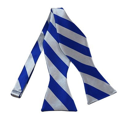 SDS-3650 | Self Tie Royal Blue and Silver College Stripe Bow Tie