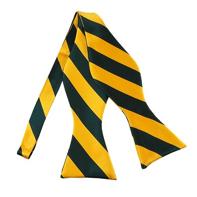 SDS-3748 | Self Tie Forest Green and Gold College Stripe Bow Tie