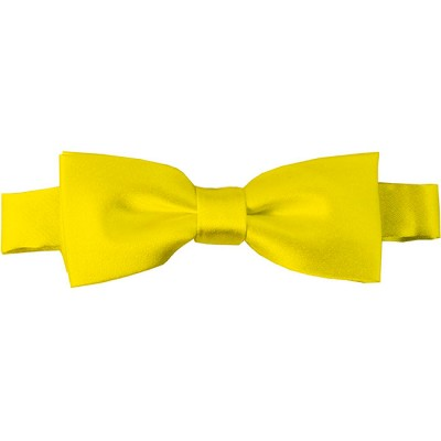 BTK-49 | Kids Solid Lemon Yellow Pre-Tied Bow Tie
