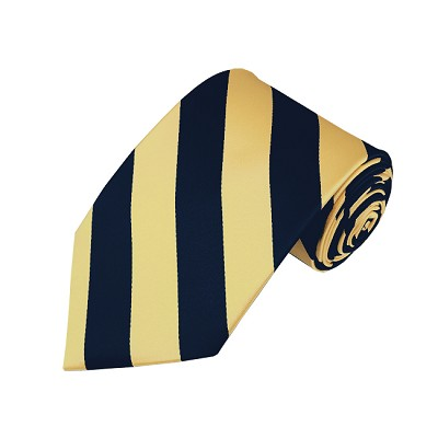 DS-5375 | Navy Blue and Honey Gold College Stripe Woven Tie