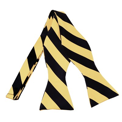 SDS-5875 | Self Tie Black and Honey Gold College Stripe Bow Tie