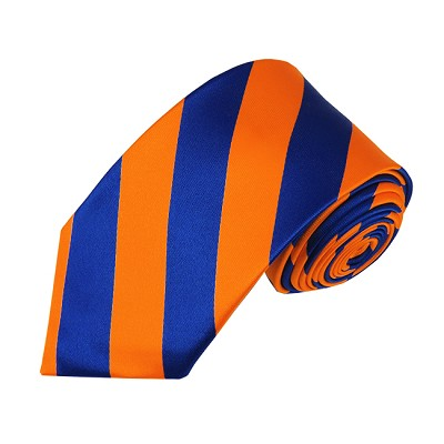 DSS-3603 | Slim Royal Blue and Orange College Stripe Woven Tie