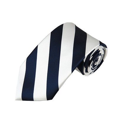 DS-5320 | Navy and White College Stripe Woven Tie