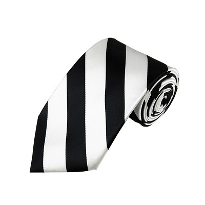DS-5820 | Black and White College Stripe Woven Tie