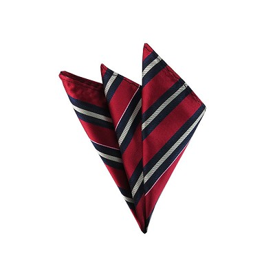 DH-104B | Black, Navy and White Stripes on Red Men's Woven Handkerchief