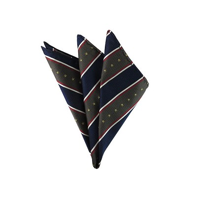 DH-105A | Stars & Stripes on Dark Olive, Burgundy, White and Blue Men's Woven Handkerchief