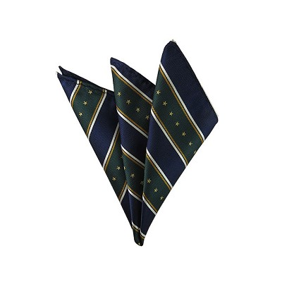 DH-105B | Stars & Stripes on Forest Green, Navy and White Men's Woven Handkerchief