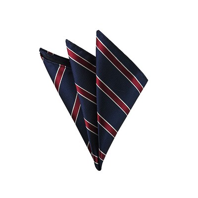 DH-108A | Traditional White Border Burgundy Stripes on Navy Men's Woven Handkerchief
