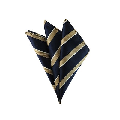 DH-109B | Gold and White Stripes on Navy Men's Woven Handkerchief