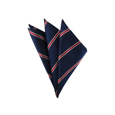 DH-112 | Red and White Narrow Border Stripes on Navy Men's Woven Handkerchief