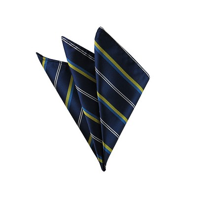 DH-114 | Lime and Peacock Multi Stripe on Navy Men's Woven Handkerchief