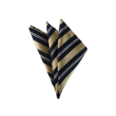 DH-115 | Gold and White Stripes on Navy Men's Woven Handkerchief