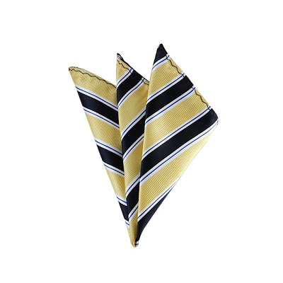 DH-130B | Light Yellow and Navy Blue Striped Men's Woven Handkerchief