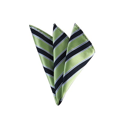 DH-130C | Pear Green and Navy Blue Striped Men's Woven Handkerchief