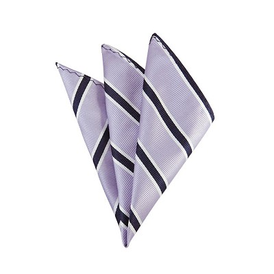 DH-132A | Lavender and Navy Blue Narrow Striped Men's Woven Handkerchief